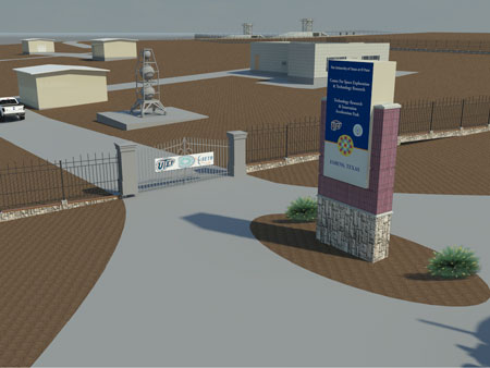 This rendering shows the front entrance of the planned MIRO cSETR Technology Research and Innovation Acceleration Park (tRIAc) in Fabens, Texas.