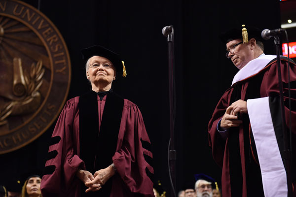 UTEP President Diana Natalicio was conferred an honorary Doctor of Humane Letters degree at Northeastern University's 115th commencement ceremony May 5, 2017 in Boston. Photo Courtesy: Northeastern University